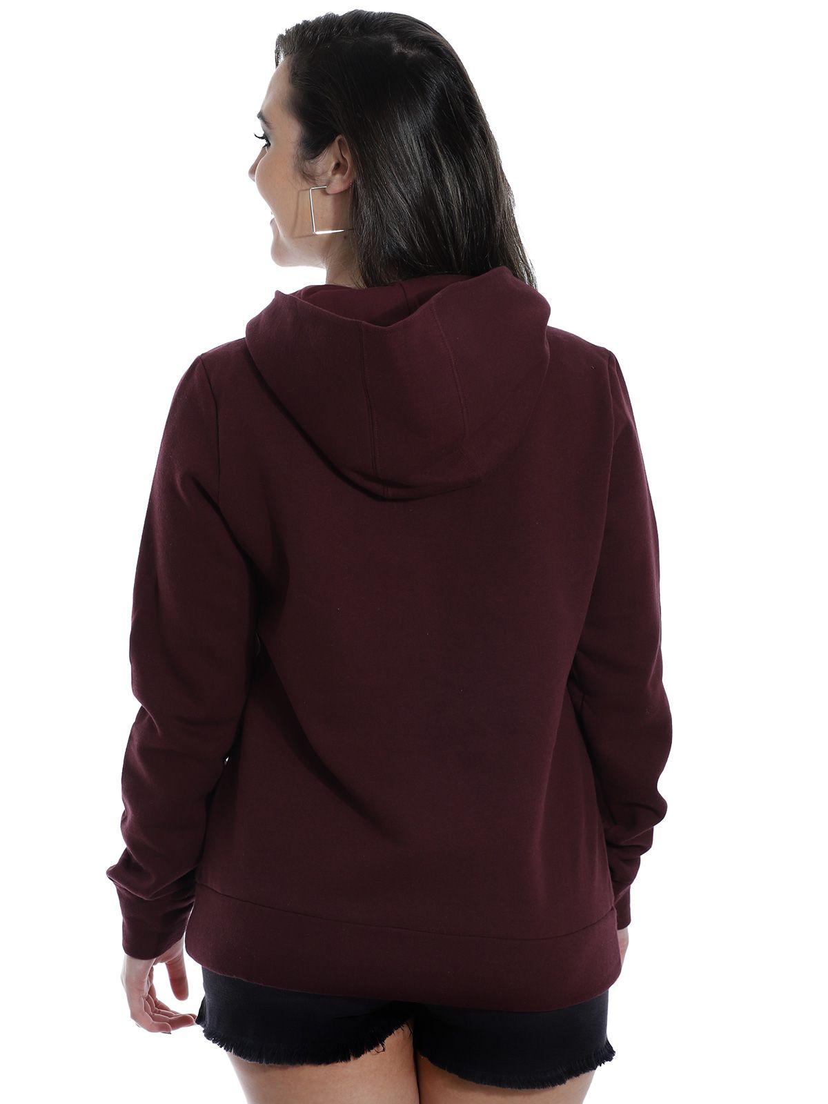 Blusão Moletom Feminino com Ziper Lateral Anistia Bordo