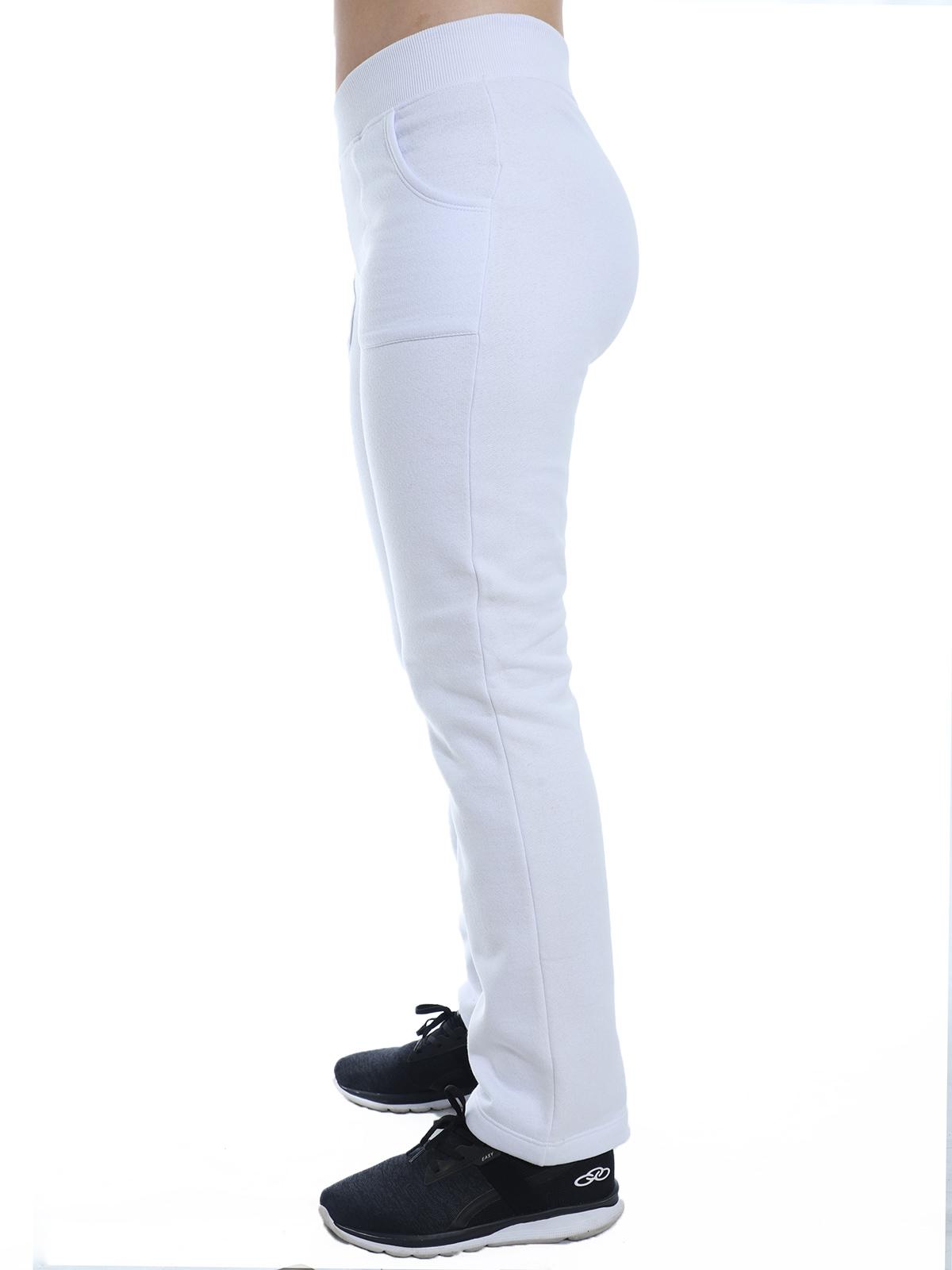 Calça Feminina Anistia de Moletom Cós de Punho Branca