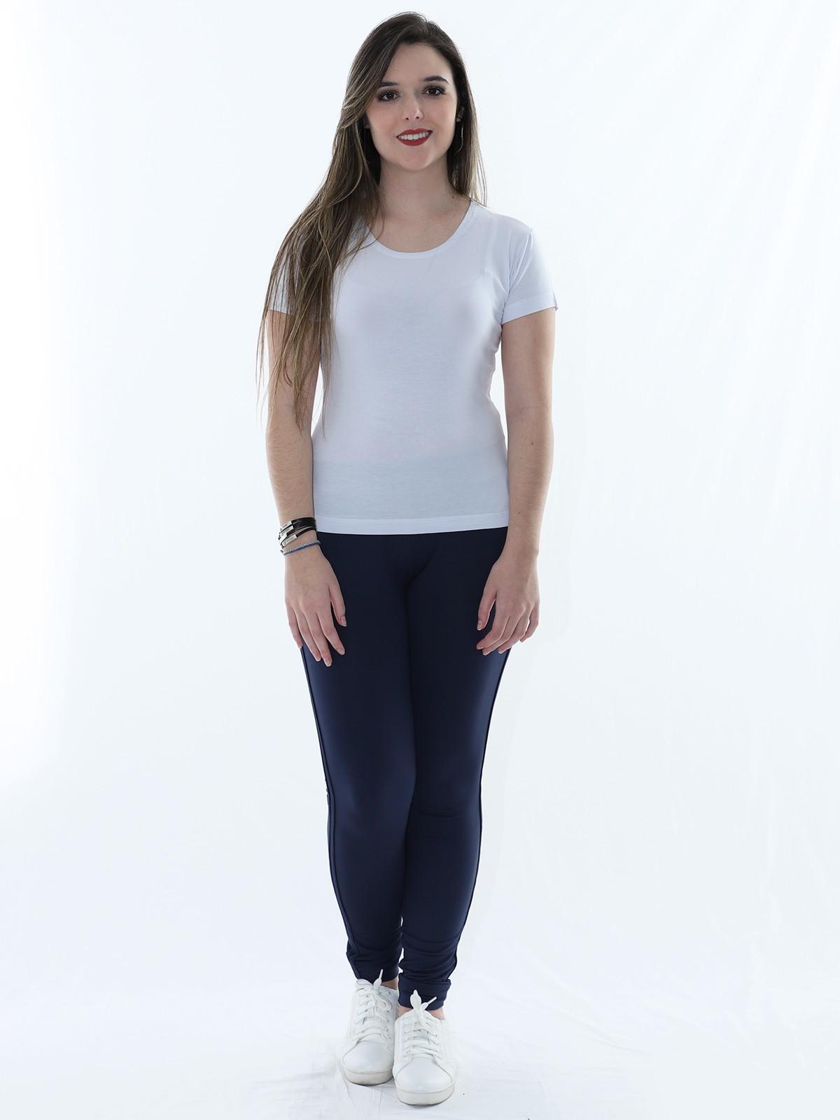 Calça Feminina Jogger de Moletinho C/ Punho Azul Marinho