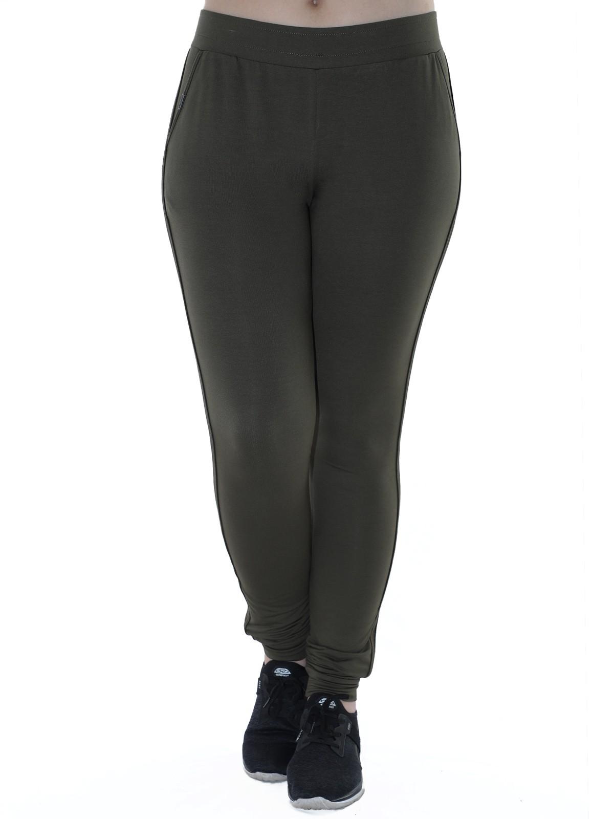 Calça Feminina Jogger de Moletinho C/ Punho Verde Militar