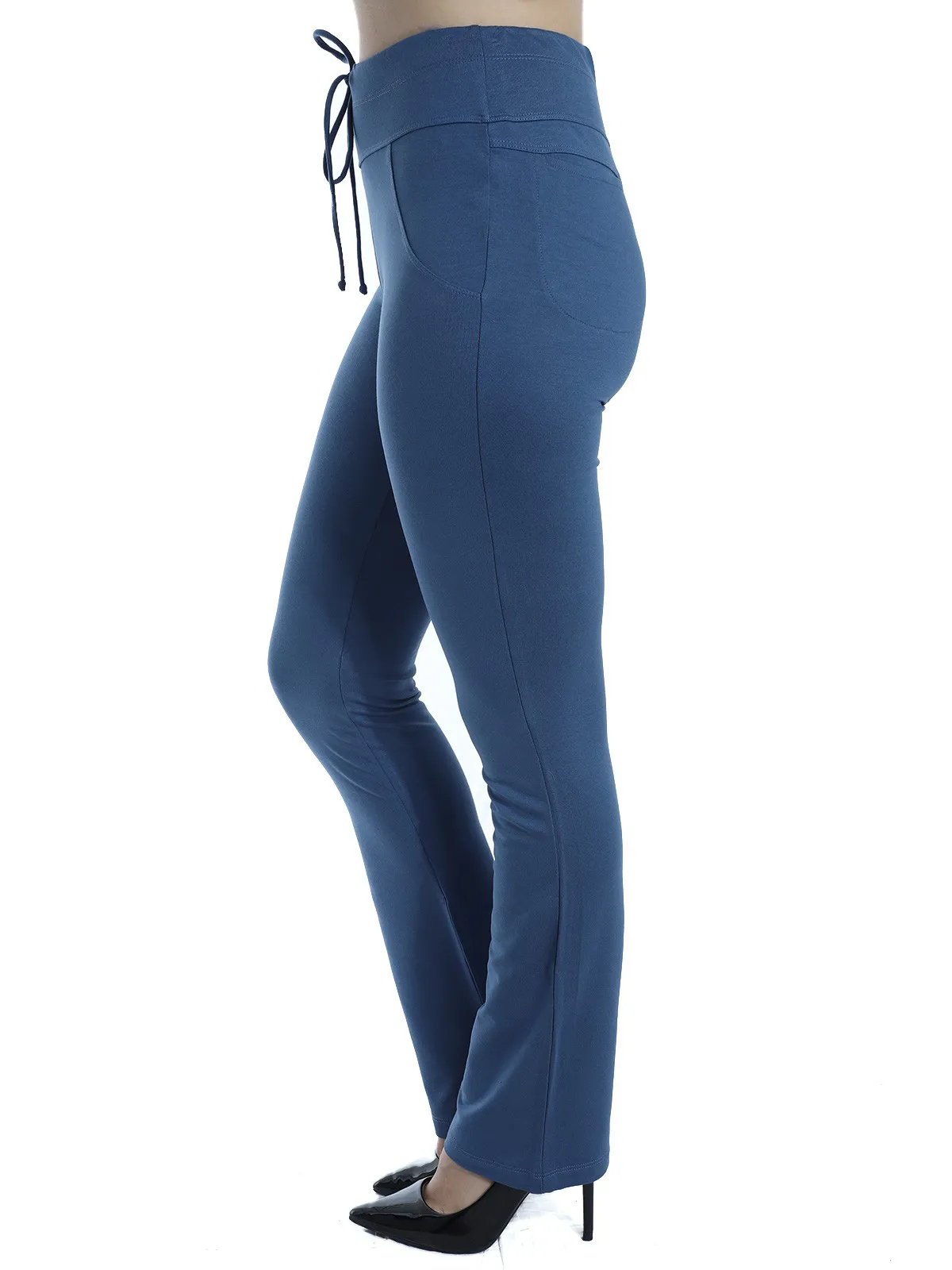 Calça Feminina Reta Moletinho Com Elastano Confort Azul
