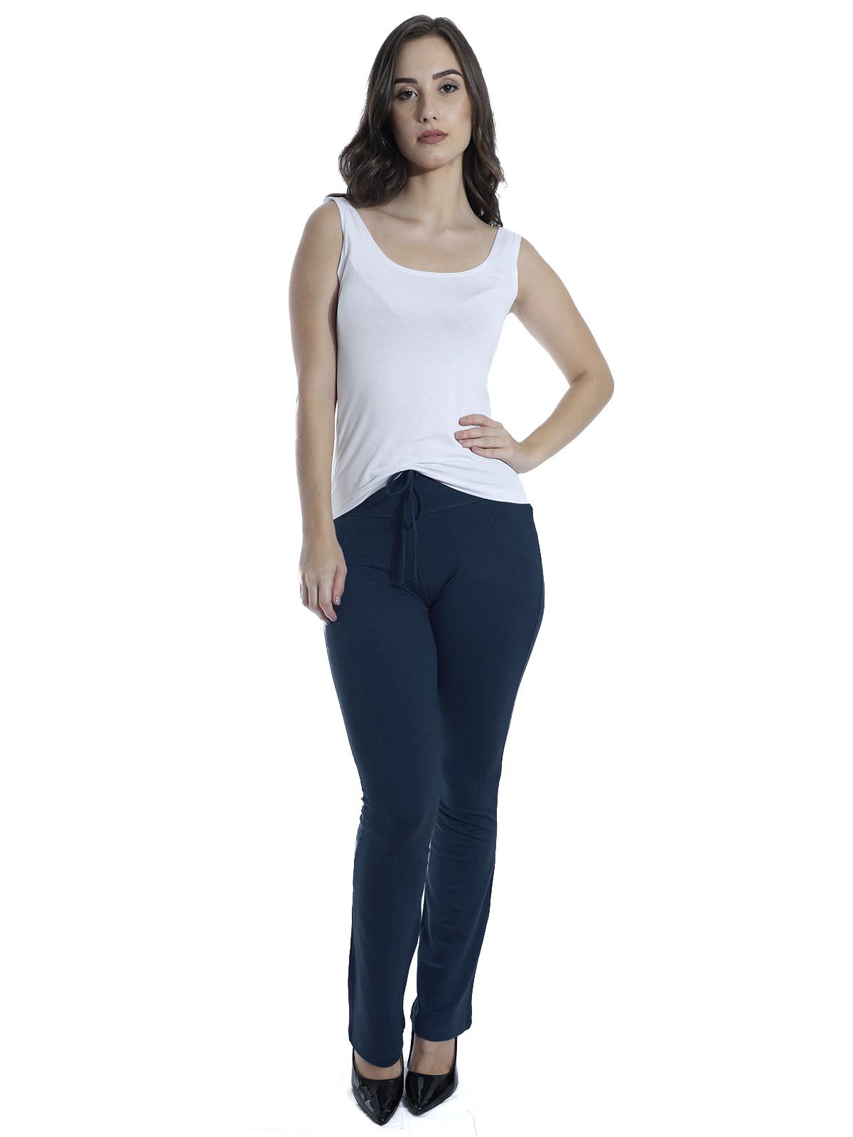 Calça Feminina Reta Moletinho Com Elastano Confort Azul Marinho