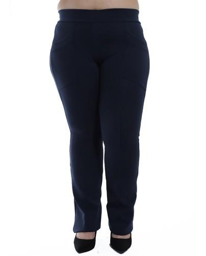 Calça Flare Plus Size Feminina Body Fit Fitness Grossa Azul Marinho