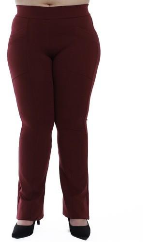 Calça Flare Plus Size Feminina Body Fit Fitness Grossa Bordo