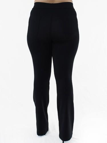 Calça Flare Plus Size Feminina Body Fit Fitness Grossa Preta
