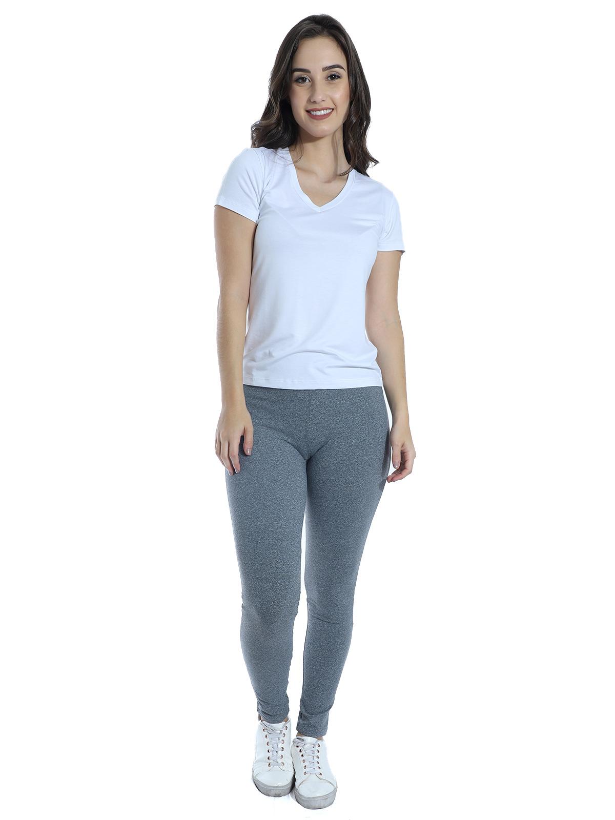 Calça Legging Feminina Cós Anatômico Fitness Academia Mescla