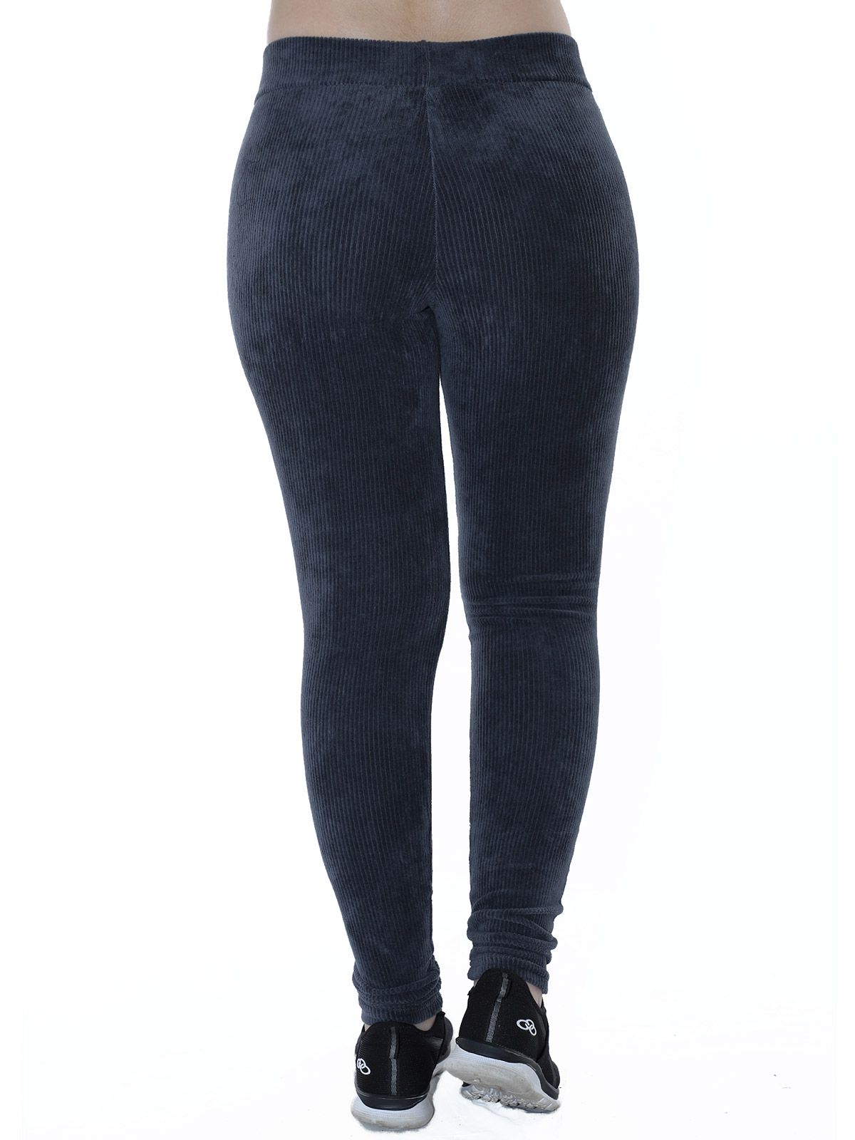 Calça Legging Feminina Veludo Cotele Cinza