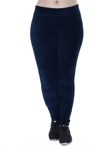 Calça Legging Feminina Veludo Cotele Confort Grossa Azul Marinho