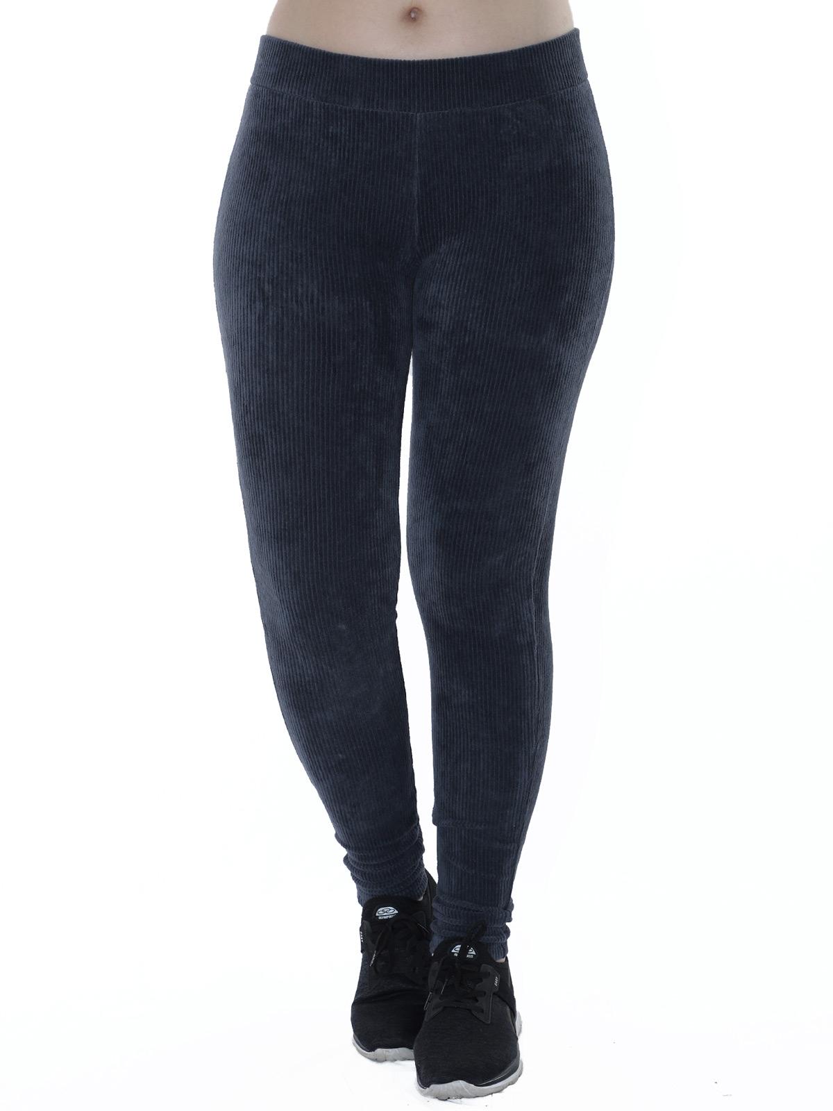 Calça Legging Feminina Veludo Cotele Confort Grossa Cinza
