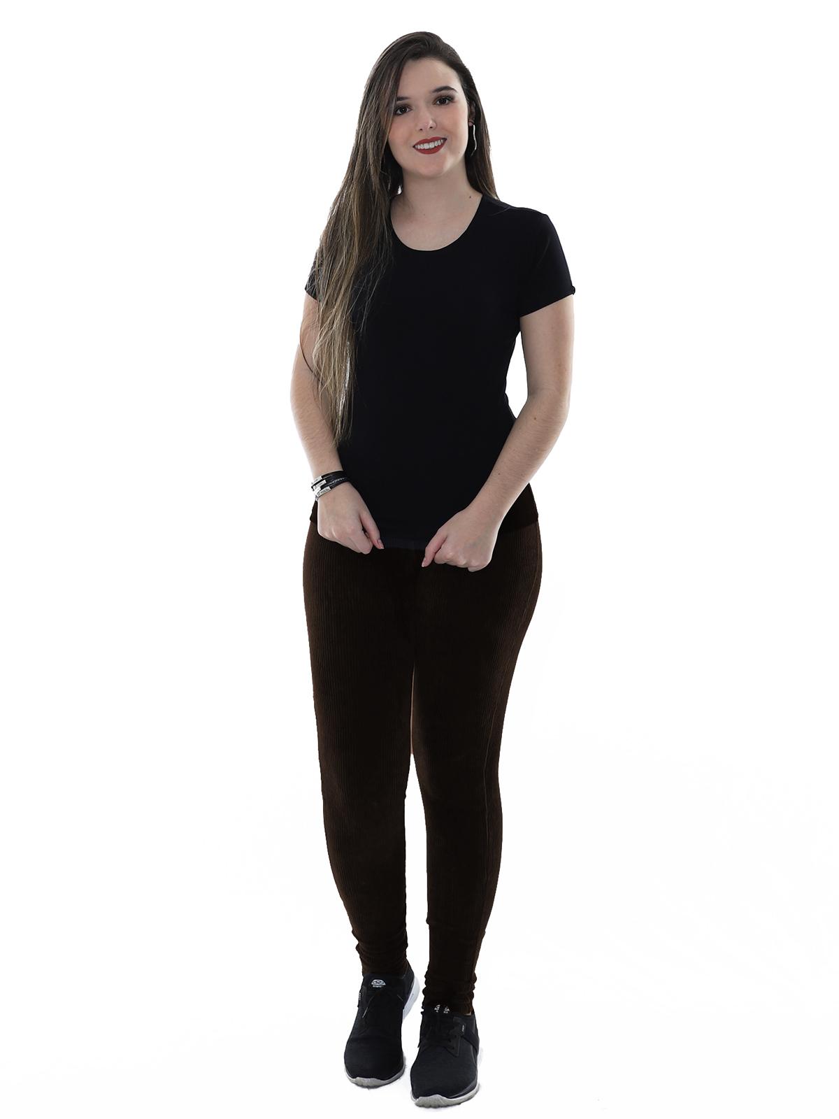 Calça Legging Feminina Veludo Cotele Confort Grossa Marrom