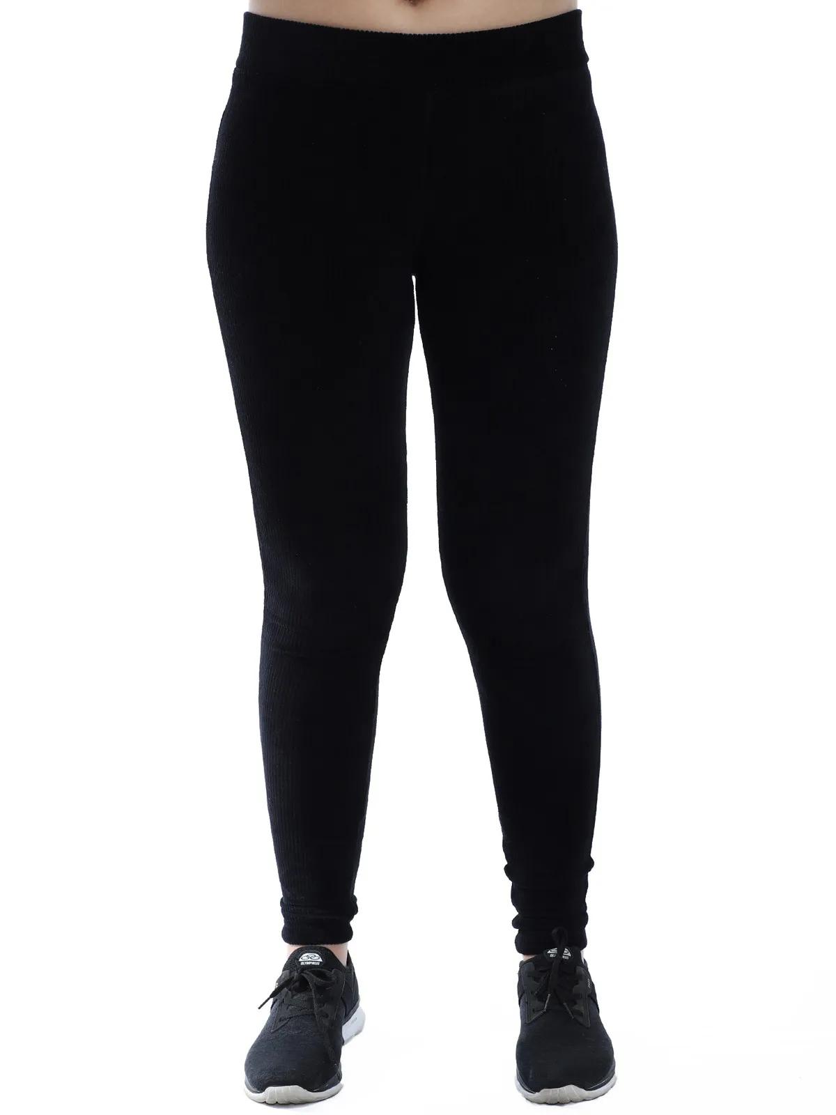 Calça Legging Feminina Veludo Cotele Confort Grossa Preta