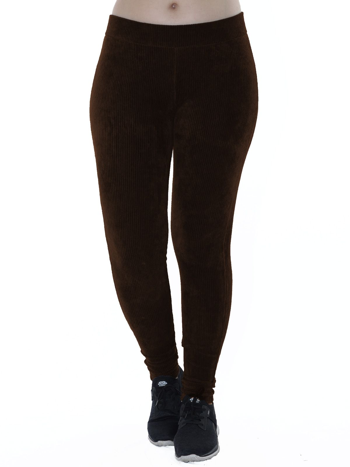 Calça Legging Feminina Veludo Cotele Marrom