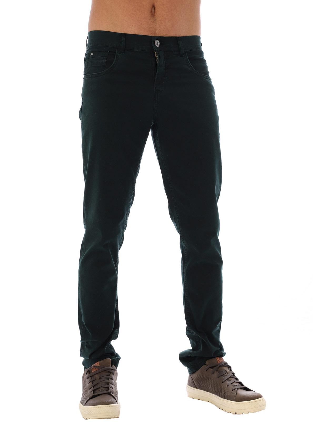 Calça Masculina de Sarja com Elastano Anistia Verde Musgo