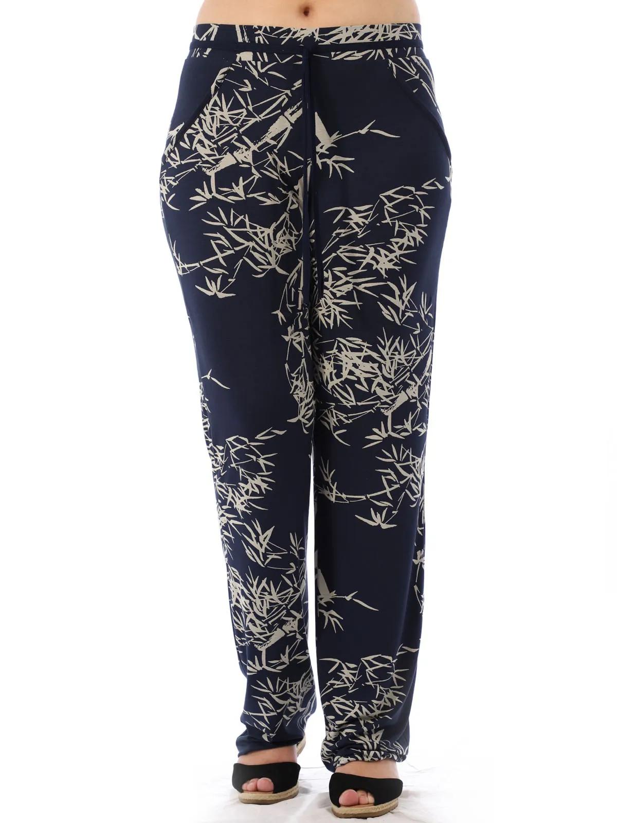 Calça Pantalona Feminina Viscolycra Estampada Azul Marinho