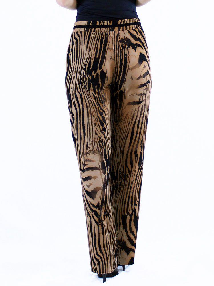 Calça Feminina Pantalona Viscolycra Estampa Animal Print Leve Marrom