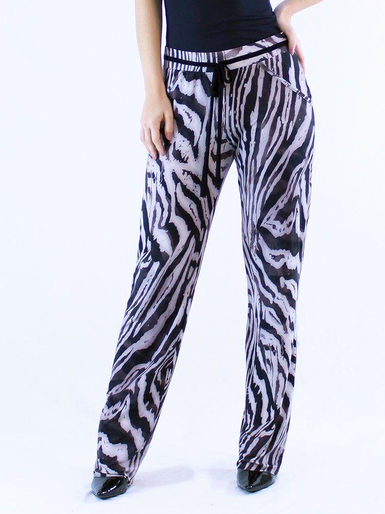 Calça Feminina Pantalona Viscolycra Estampa Animal Print Leve Preto