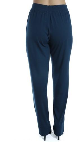 Calça Pantalona Viscolycra Lisa Confortável  Azul Marinho