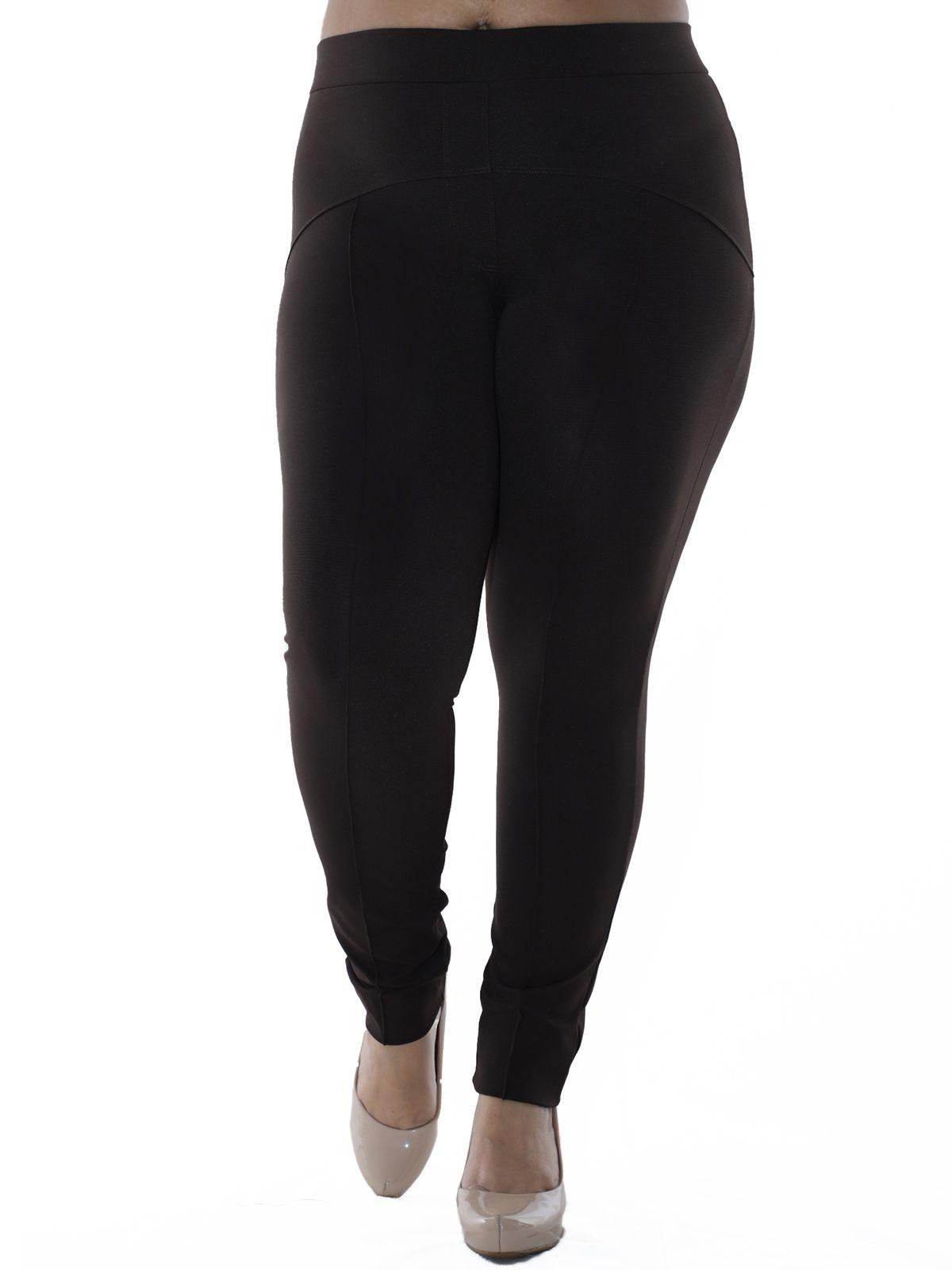 Calça Plus Size Body Fit com Recortes KTS Marrom