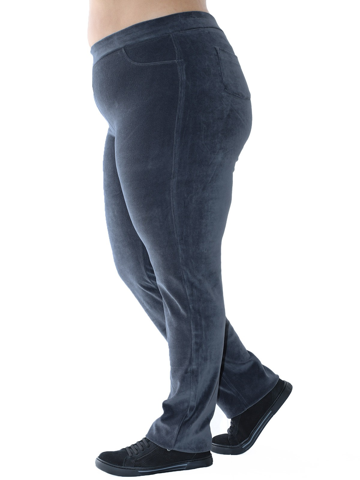 Calça Plus Size de Plush Básica Cinza
