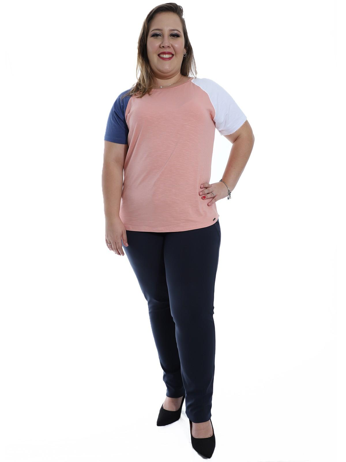 Calça Plus Size Detalhe Lateral Body Fit Azul Marinho