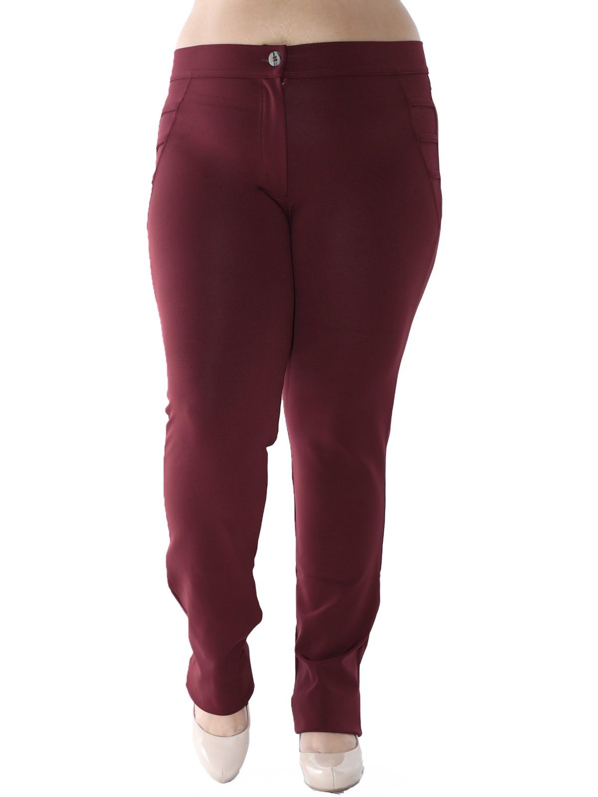 Calça Plus Size Detalhe Lateral Body Fit Bordo
