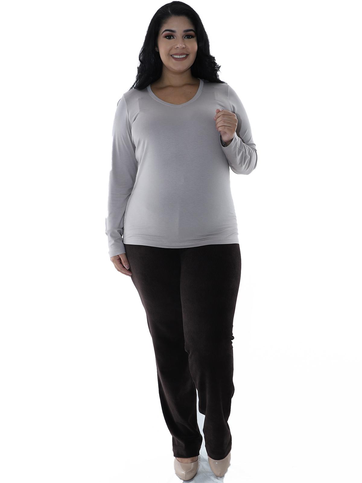 Calça Plus Size Feminina Básica de Veludo Cotelê Marrom