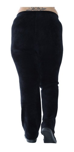 Calça Plus Size Feminina Básica de Veludo Cotelê Preta