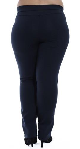 Calça Plus Size Feminina Body Fit Detalhe Lateral Azul Marinho
