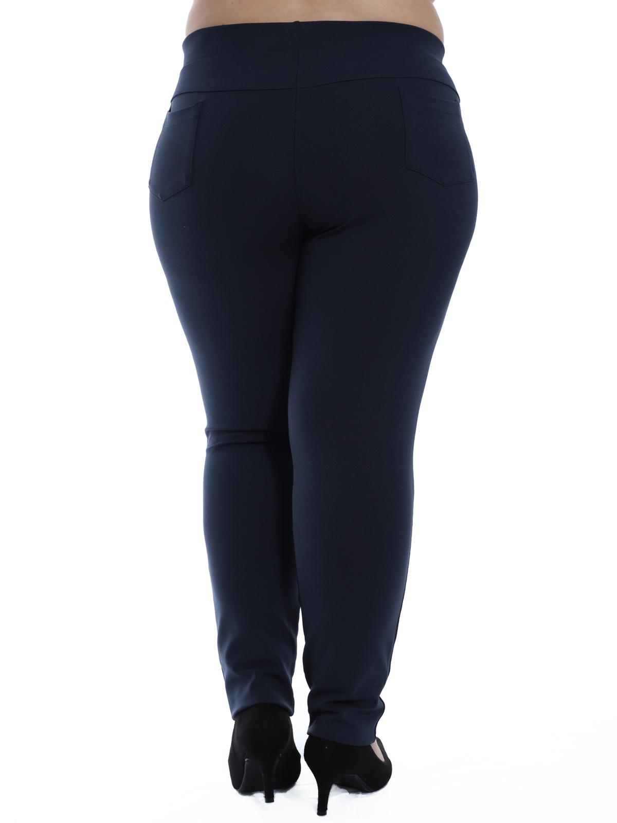 Calça Plus Size Feminina Body Fit Grossa Recortes Azul Marinho