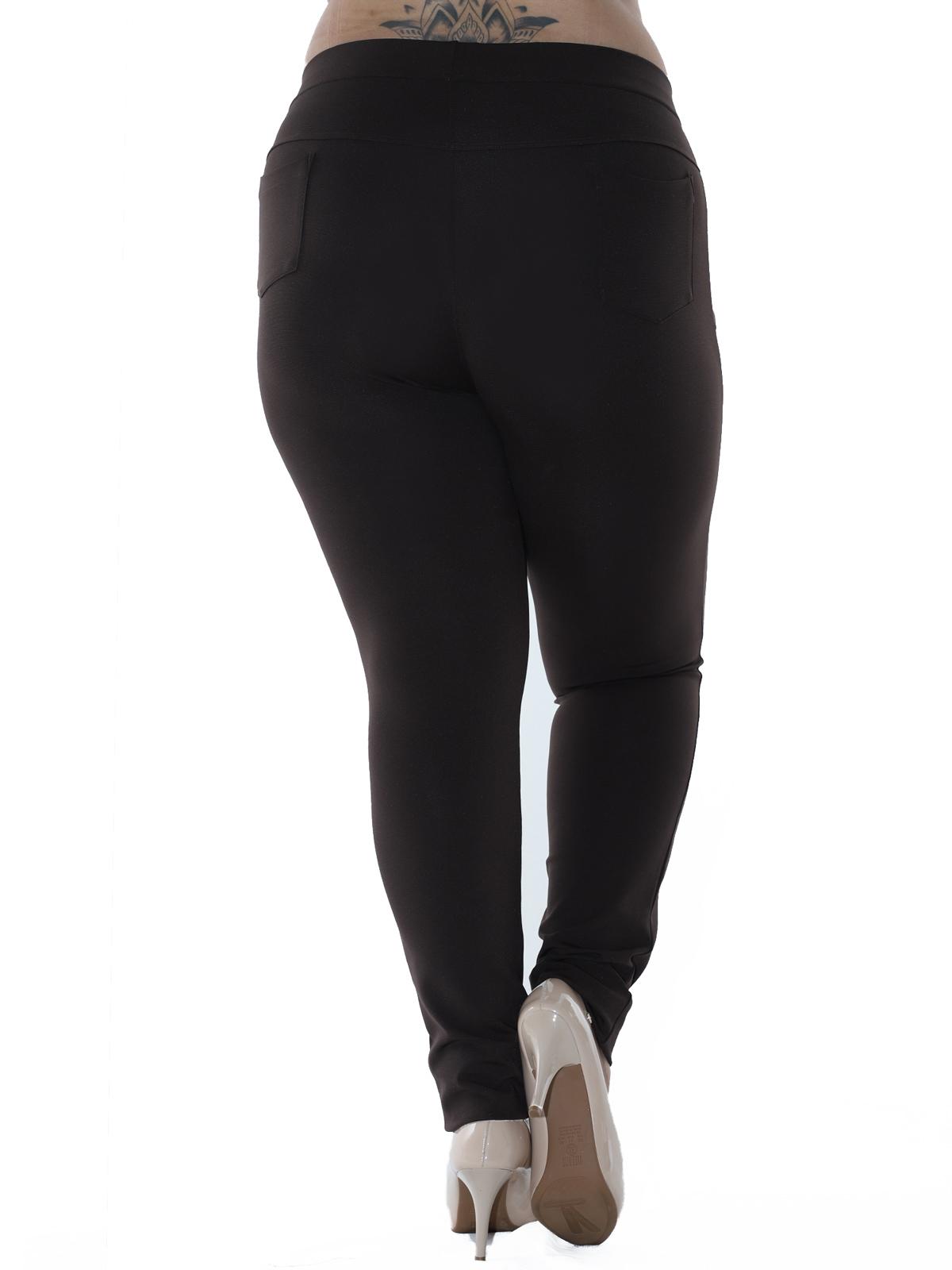Calça Plus Size Feminina Body Fit Grossa Recortes Marrom