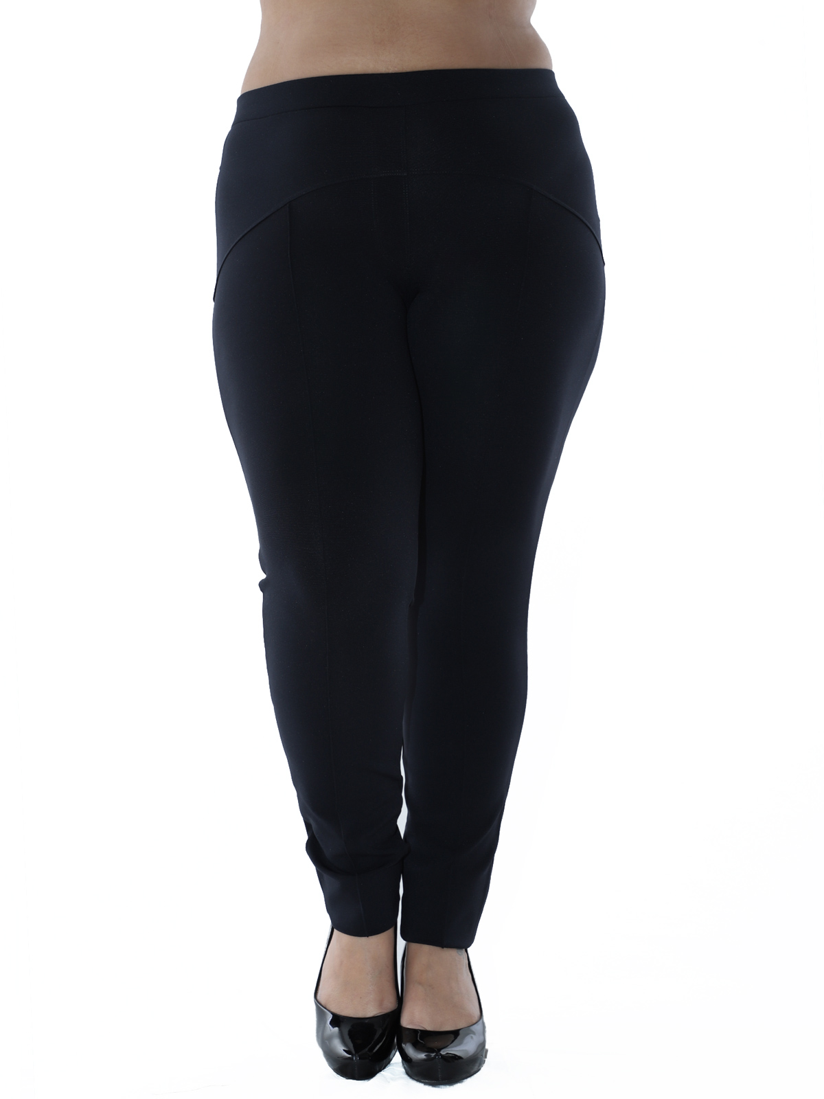 Calça Plus Size Feminina Body Fit Grossa Recortes Preto