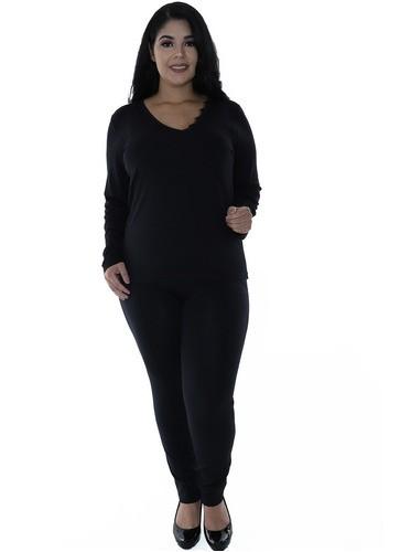 Calça Plus Size Feminina Body Fit Grossa Recortes Preto