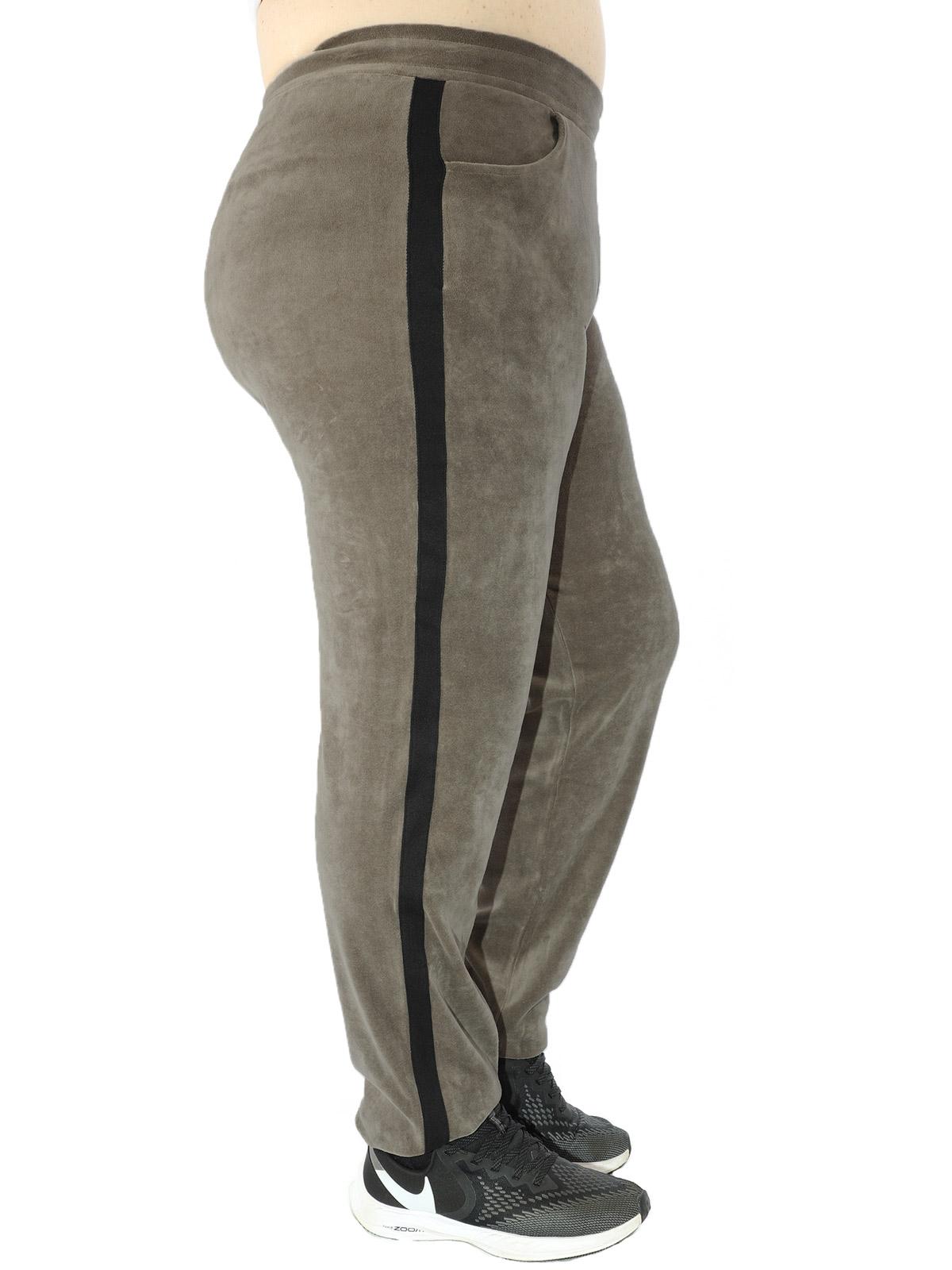 Calça Plus Size Feminina Com faixa Lateral De Plush Caqui