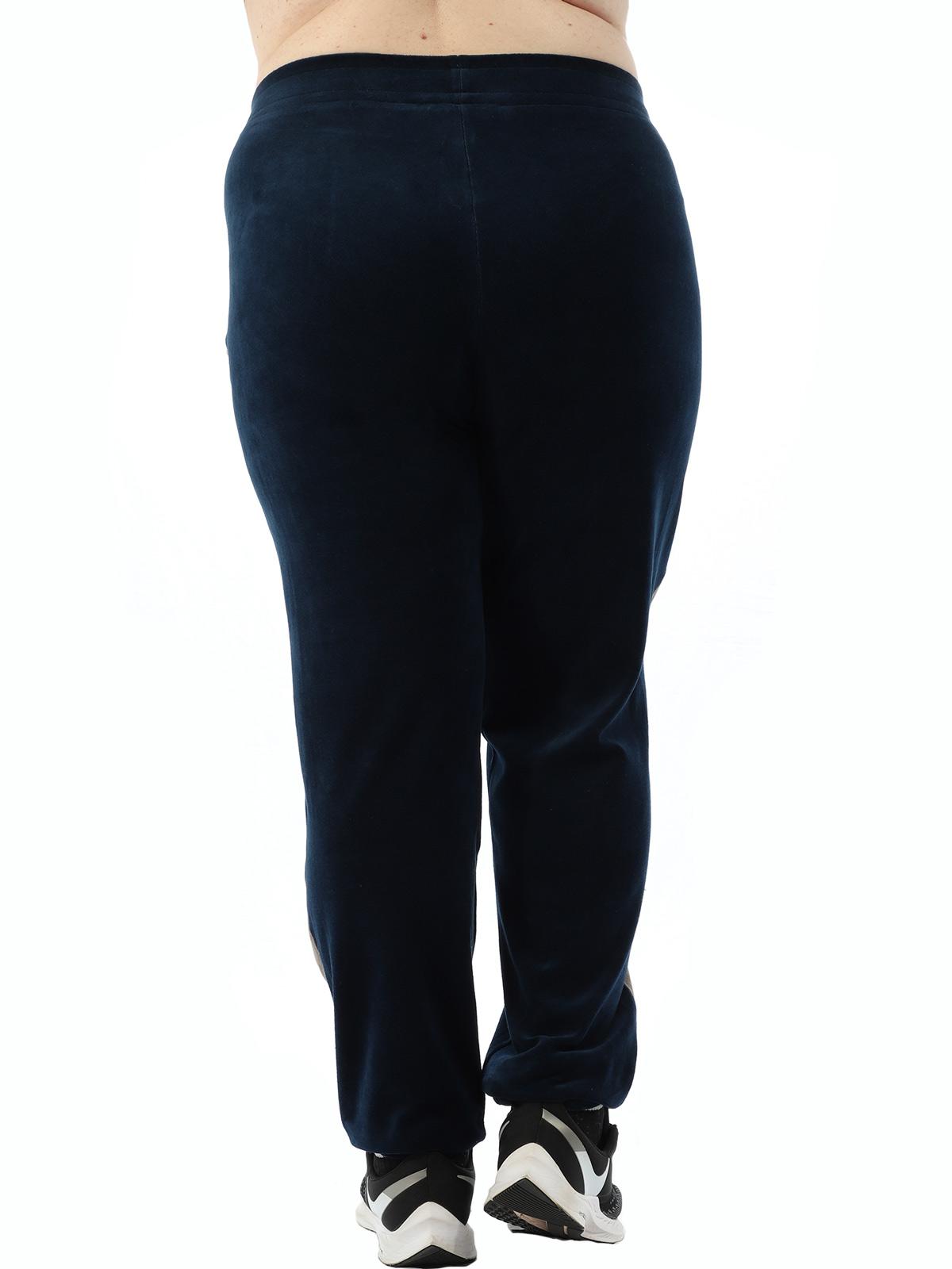 Calça Plus Size Feminina Com faixa Lateral De Plush Marinho