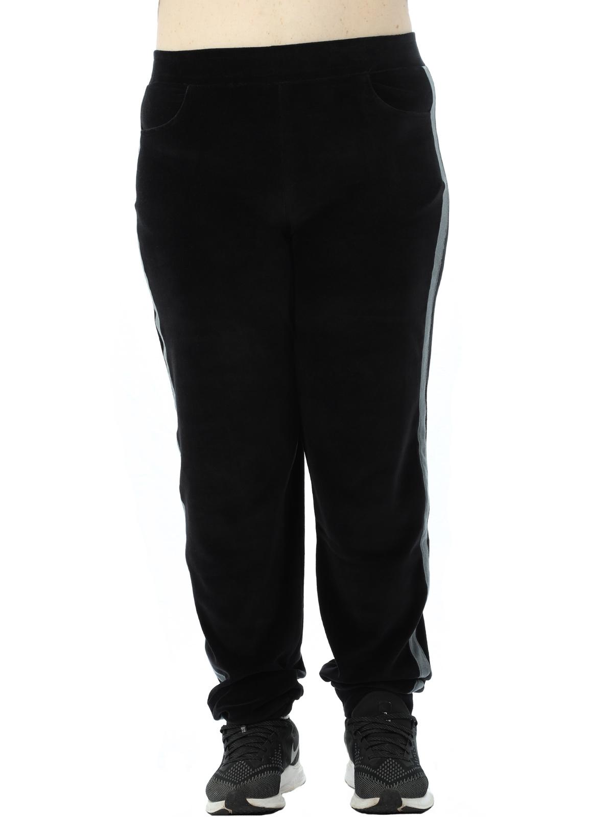 Calça Plus Size Feminina Com faixa Lateral De Plush Preta