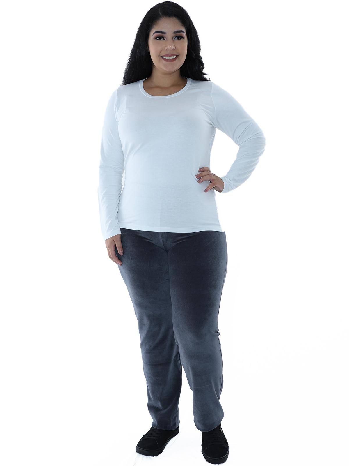 Calça Plus Size Feminina de Plush Cinza