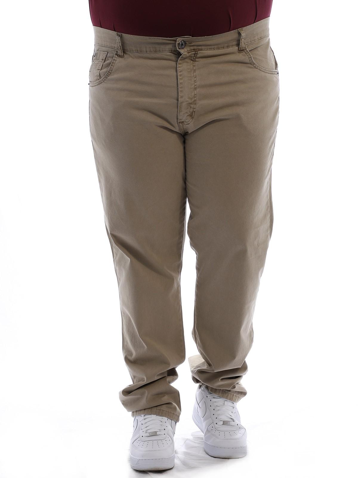 Calça Plus Size Masculina Sarja Tinturada Com Strech Areia