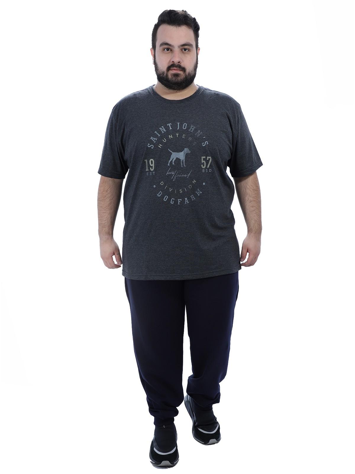 Calça Plus Size Masculino de Moletom Sem Felpa Anistia Azul Marinho