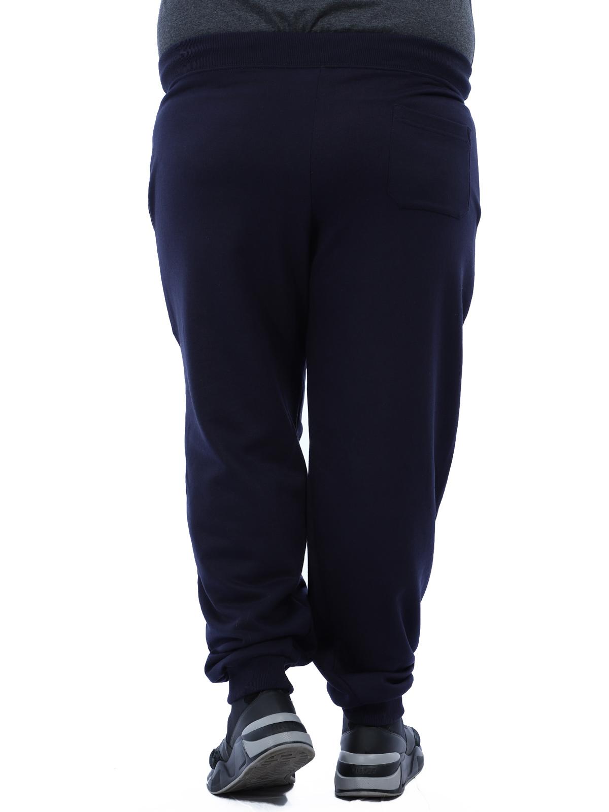 Calça Plus Size Masculino De Moletom Sem Felpa Confort Azul Marinho