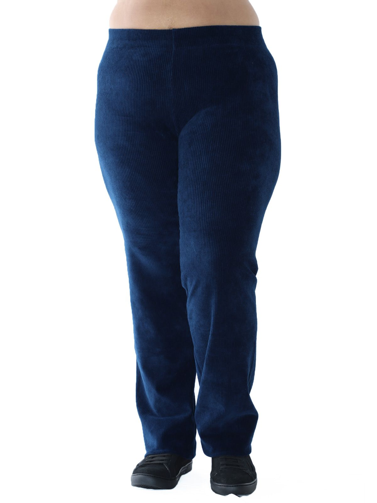 Calça Plus Size Reta de Veludo Cotelê Azul Marinho