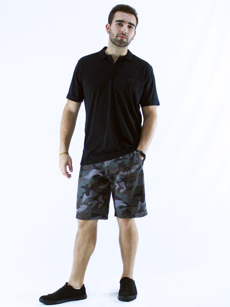 Camisa Polo Anistia Bordado Lateral Preto