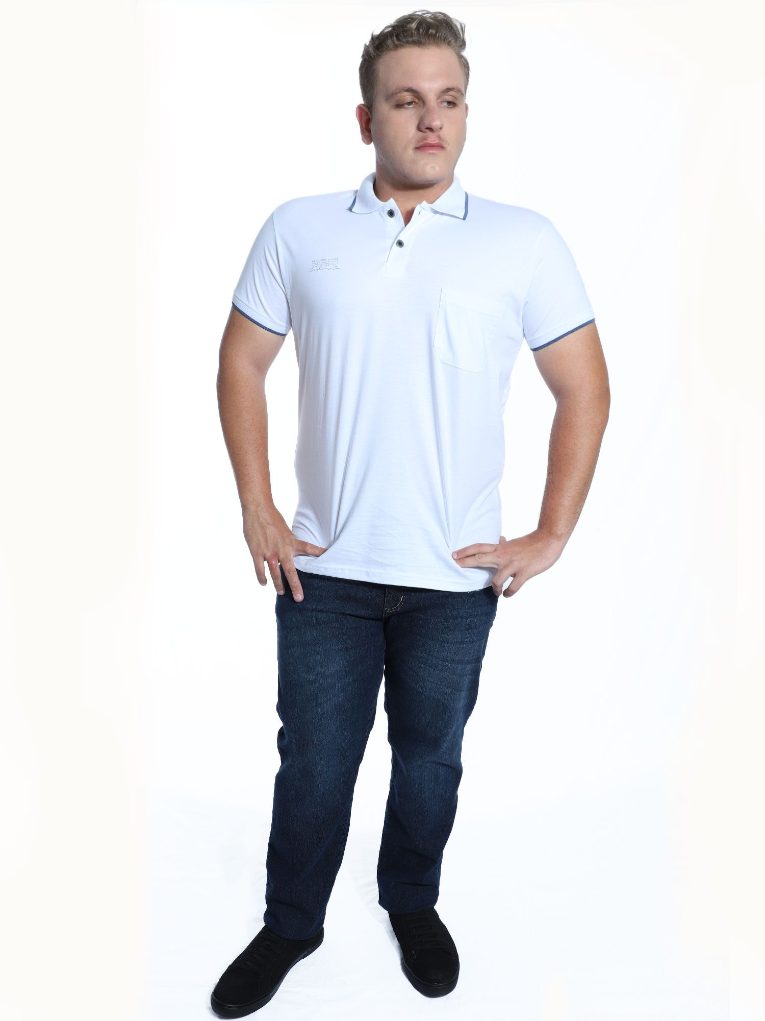 Camisa Polo Anistia com Bolso e Estampa Branco