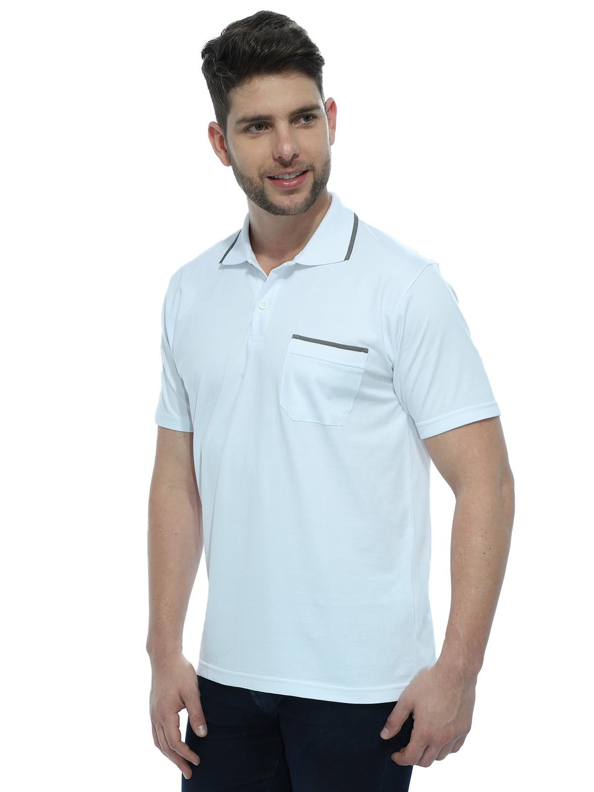 Camisa Polo Anistia com Bolso e Retilínea Branco