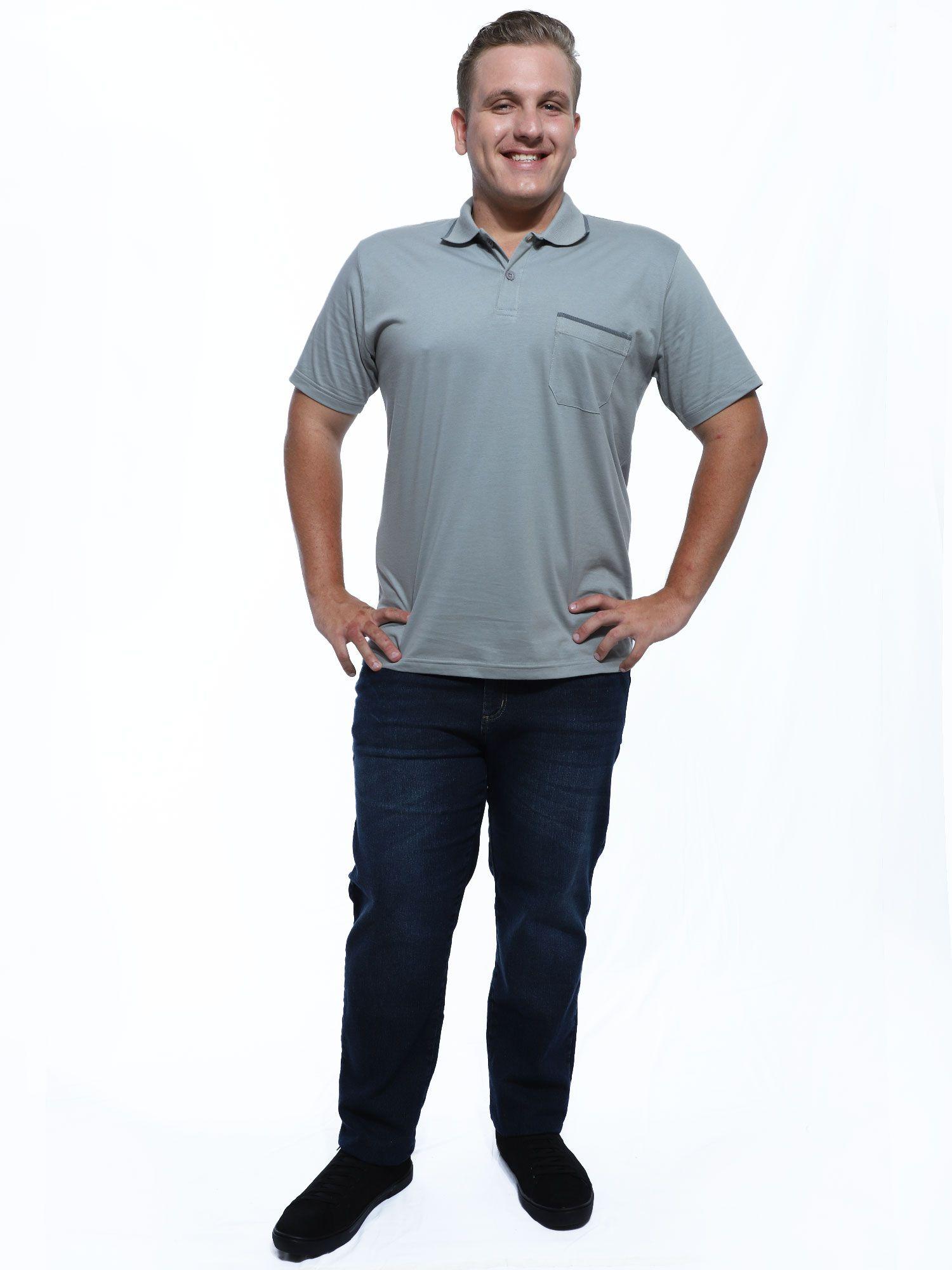 Camisa Polo Anistia com Bolso e Retilínea Cinza