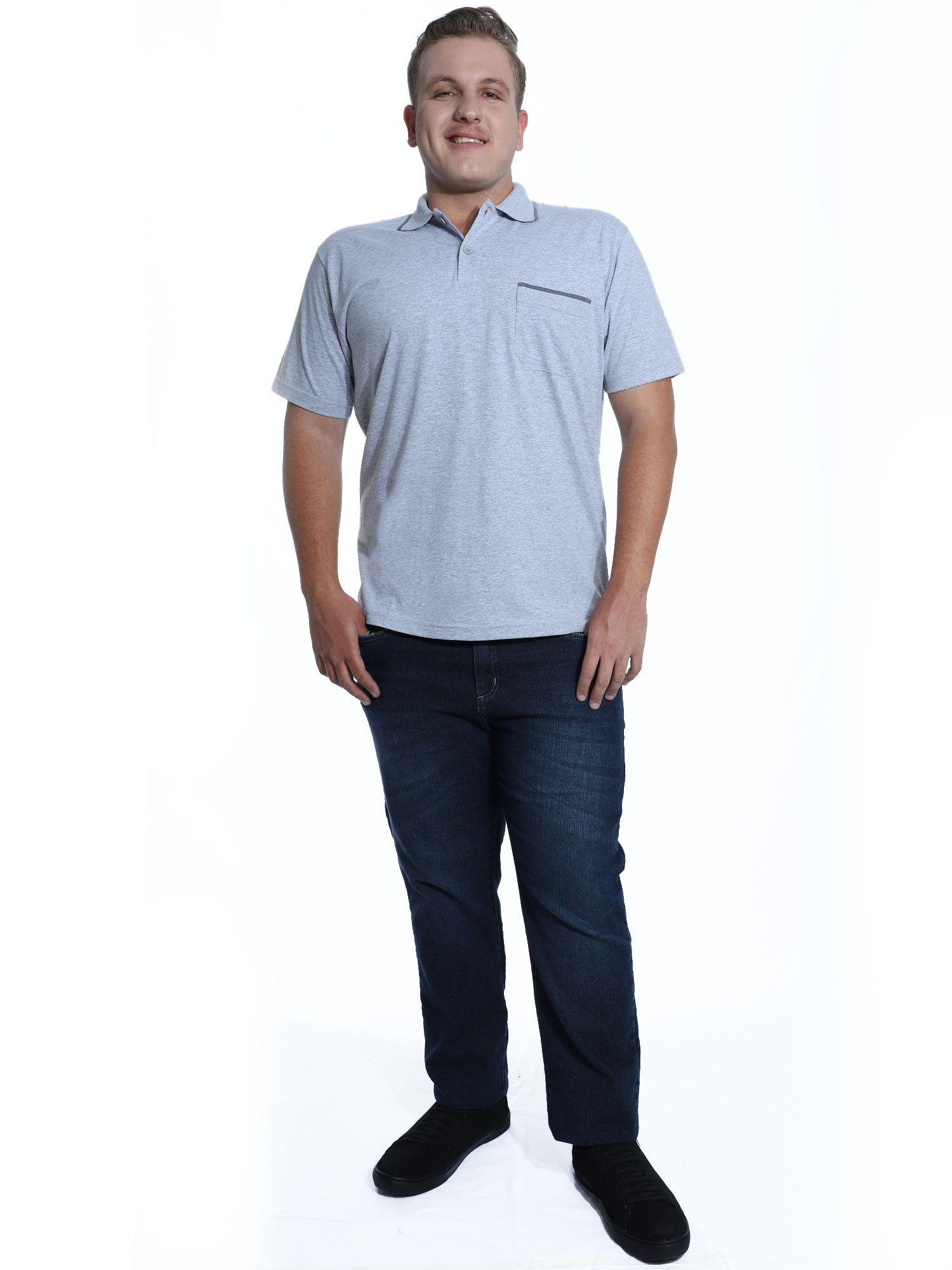 Camisa Polo Anistia com Bolso e Retilínea Mescla Claro