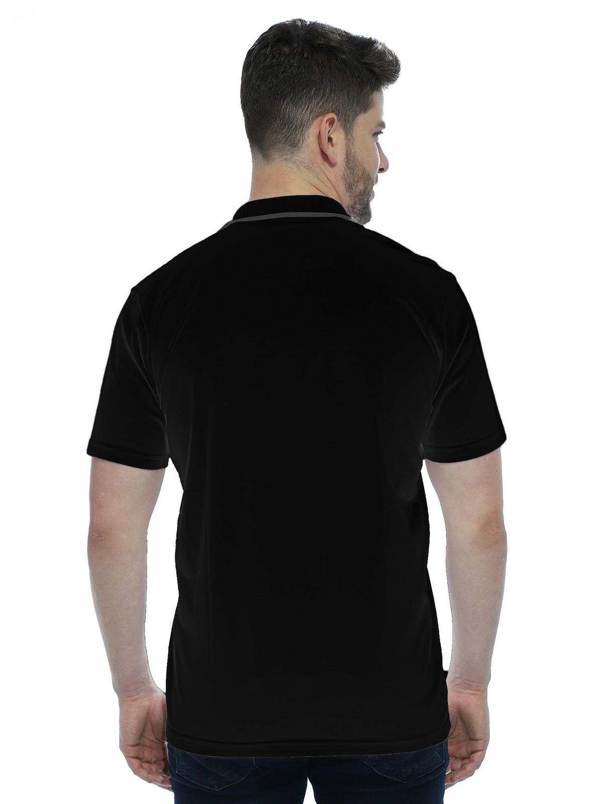 Camisa Polo Anistia com Bolso e Retilínea Preto