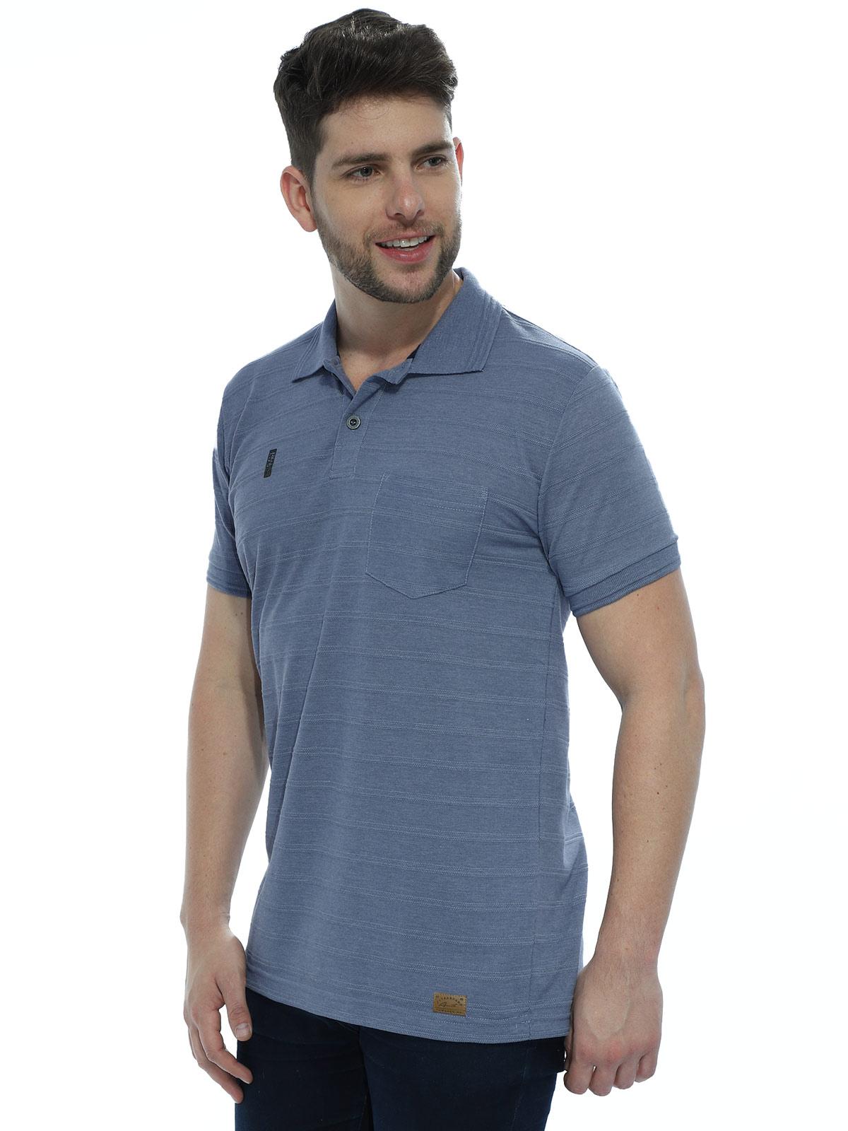 Camisa Polo Anistia com Bolso Jacquard Azul