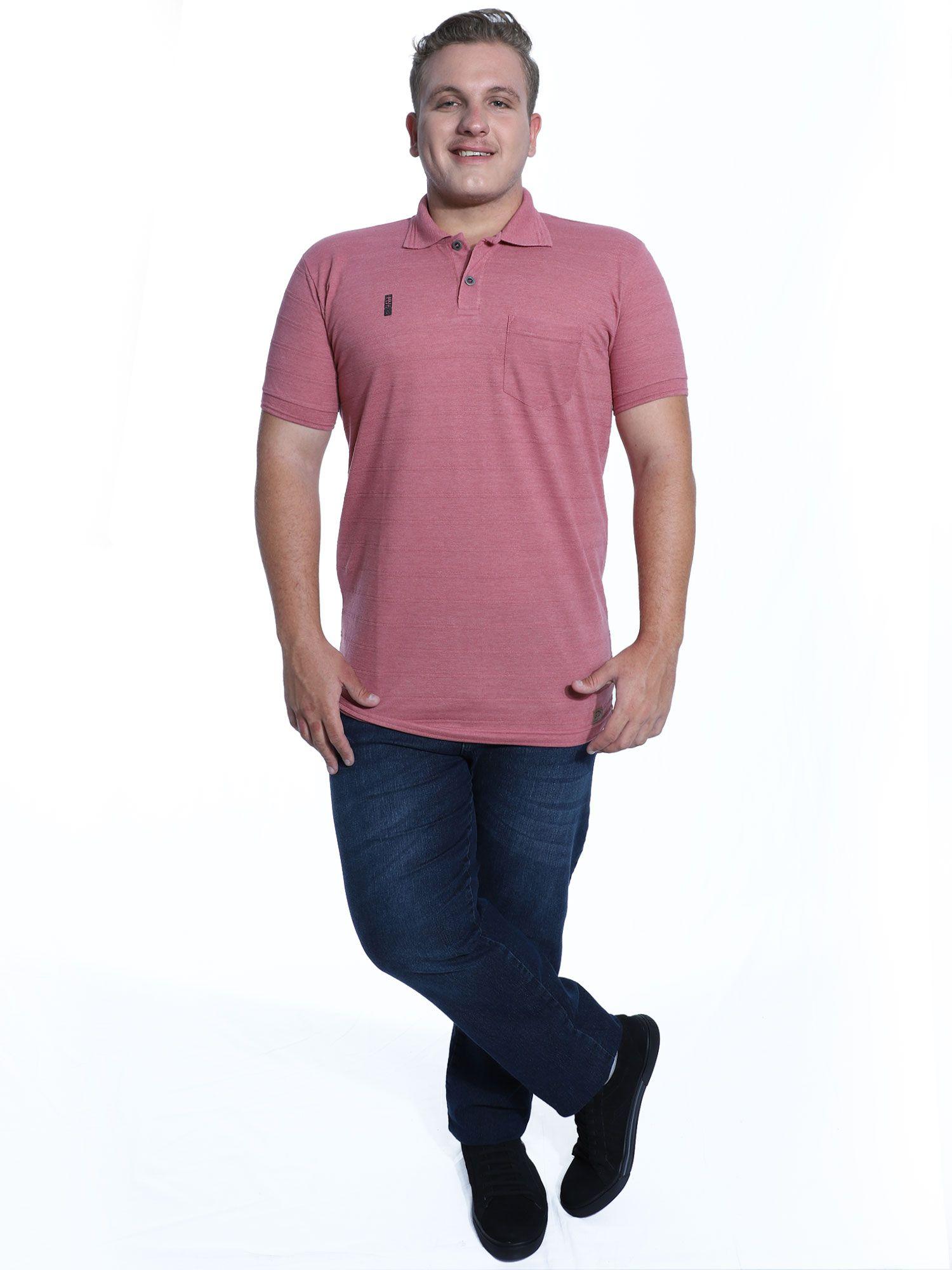 Camisa Polo Anistia com Bolso Jacquard Vermelho