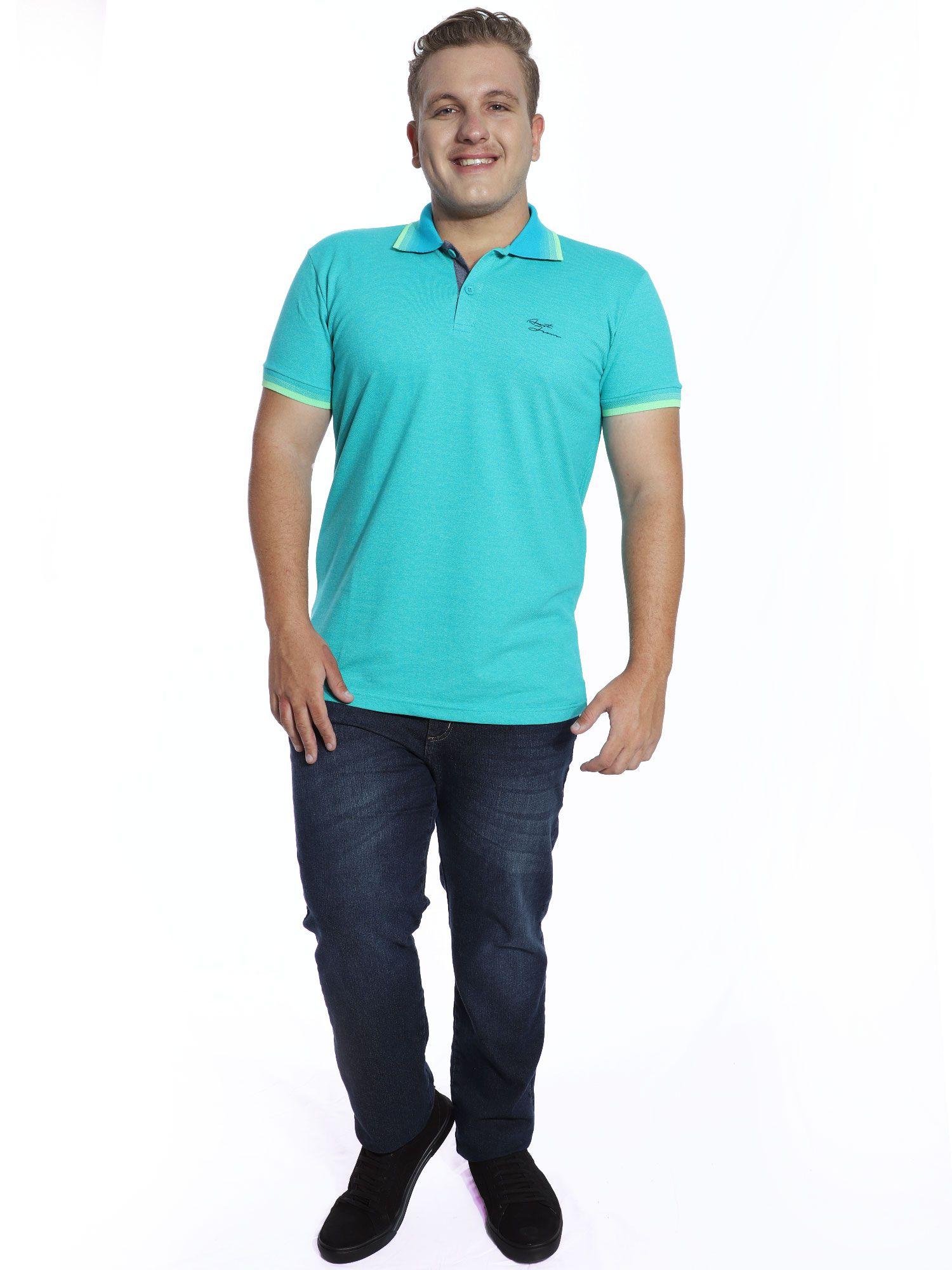 Camisa Polo Anistia com Bolso Mini Piquet Azul
