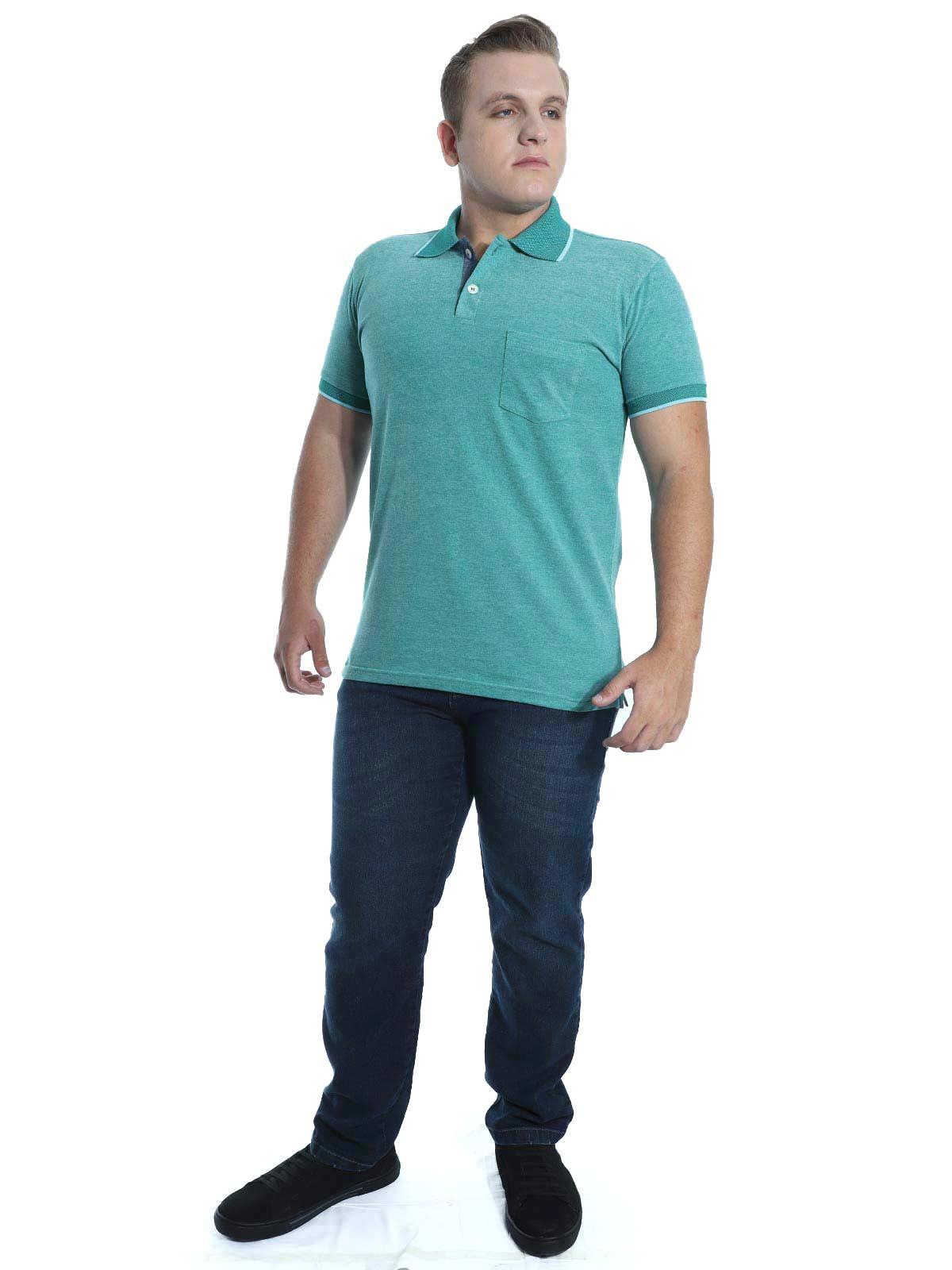 Camisa Polo Anistia com Bolso Mini Piquet Verde